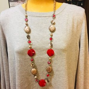 Fun necklace w/ red & speckled gray beads